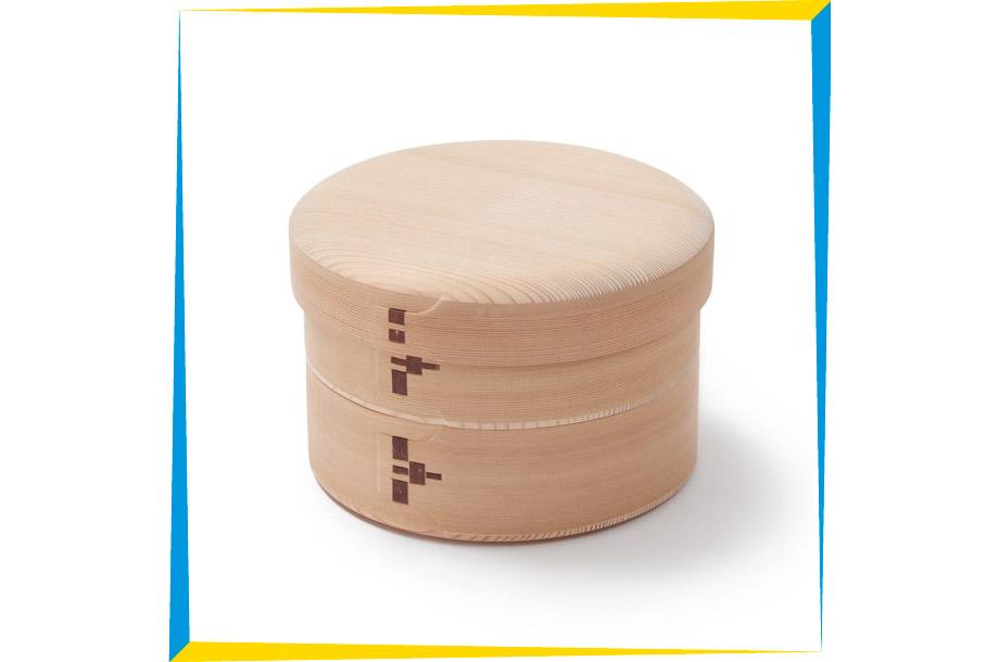 <柴田慶信商店>白木玉の湯弁当箱二段 鱗綴じの画像